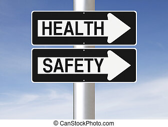 Health and Safety - Conceptual one way street signs on a...