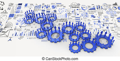hand drawn business strategy 3d human gear to success as...