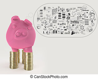 pink piggy bank 3d standing over coin and hand drawn...