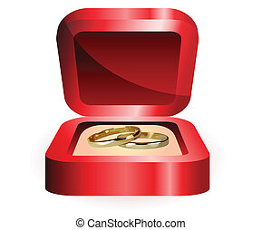 a pair of gold rings in the red box