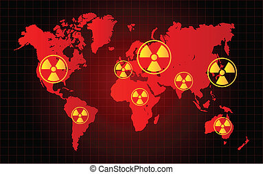 World Map Nuclear Waste Radioactive Hazard Zone Vector...