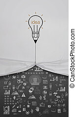 pencil lightbulb draw rope open wrinkled paper show business...