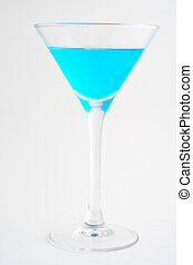 Blue cocktail Macro shot on white background