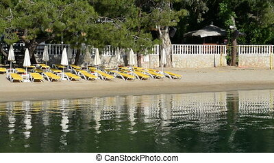 Panning the beach on Turkish resort, Fethiye, Turkey