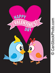 valentine day beautiful card with couple birds