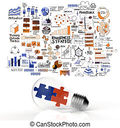 puzzles in light bulb and business strategy as concept