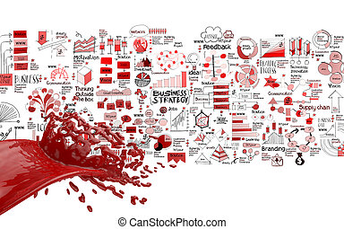 3D paint red color splash and hand drawn business strategy...