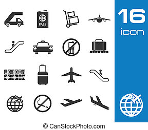 Vector black airport icons set on white background