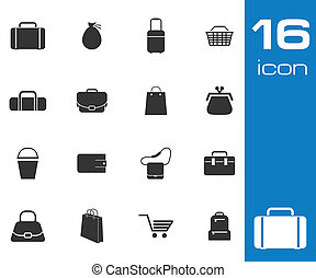 Vector black bag icons set on white background