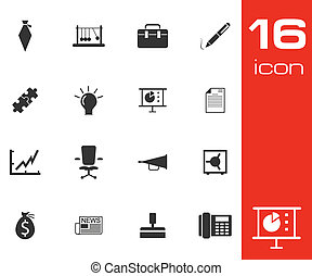 Vector black business icons set on white background