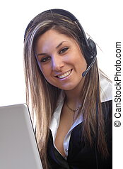 call us - beautiful young lady with headphones behind a...