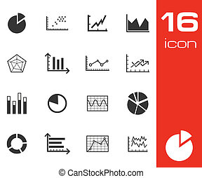 Vector black  diagram icons set on white background