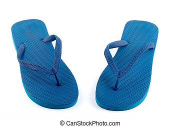 Blue sandals isolated on white background