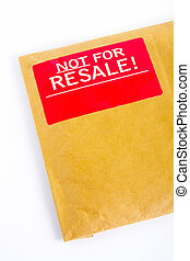 Detail of Envelope with red sticker: Not for resale,...