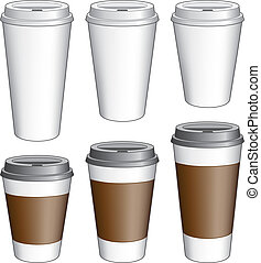 Coffee To Go Cups - Illustration of six to go coffee cups...