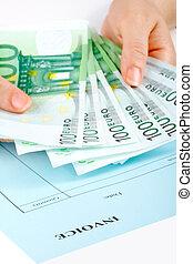 tenencia, dinero, factura