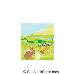 cows and bunnies in green meadow