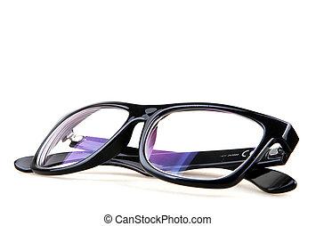 nero, occhio, occhiali, isolato, su, bianco