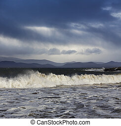 stormy weather in County Kerry - Big Atlantic waves during a...