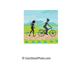actively spend the day - Nordic walking and riding a bike