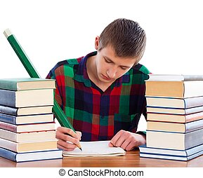 Creative Writing - Creative student writing his homework.