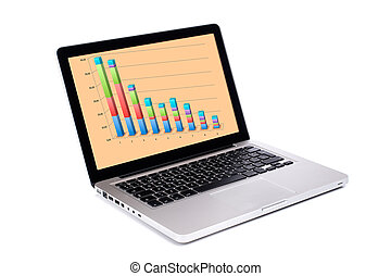 Economy recession - Modern and stylish laptop computer with...
