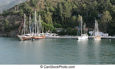 Yacht on Turkish resort, Fethiye, Turkey