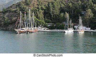 Yacht on Turkish resort, Fethiye, Turkey
