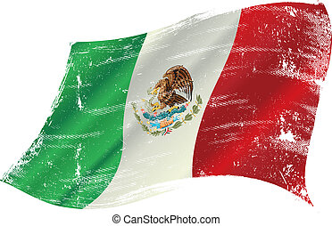 Mexican flag grunge - Mexican flag with a texture in the win