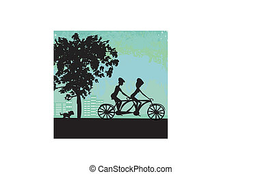 couple biking in the city