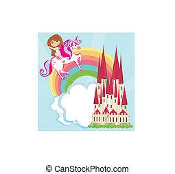 girl on a unicorn flying on a rainbow