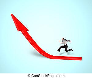 Businessman running on growing red arrow