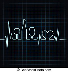 Heartbeat make wine glasses,bottle and heart symbol stock...