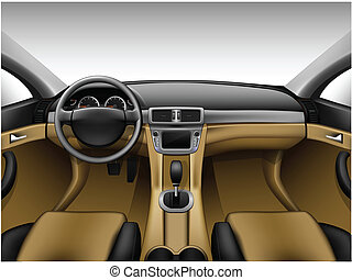 Light beige leather car interior - Dashboard - beige car...