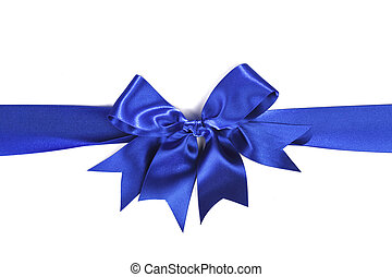 Blue bow - Blue silk bow isolated on white background