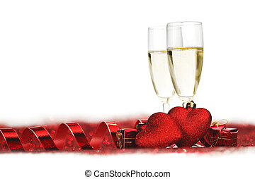 Champagne and valentines day decoration
