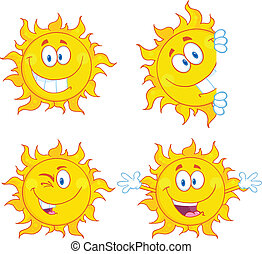 Sun Characters 3 Collection Set - Sun Cartoon Mascot...