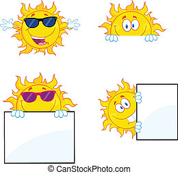 Sun Characters 2 Collection Set - Sun Cartoon Mascot...