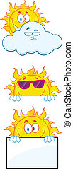 Sun Characters 1 Collection Set - Sun Cartoon Mascot...