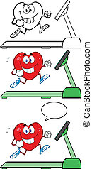 Heart Characters On A Treadmill - Heart Cartoon Mascot...