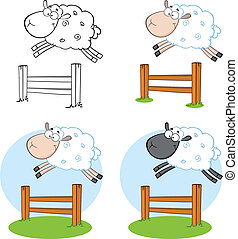 Sheep Cartoon Characters Jumping
