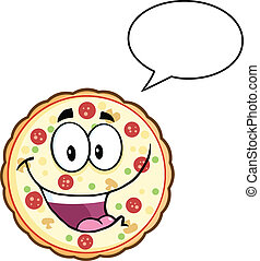 Pizza Character With Speech Bubble - Funny Pizza Cartoon...