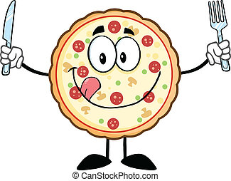 Funny Pizza Cartoon Character - Funny Pizza Cartoon Mascot...