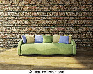 Sofa with cushions against the wall