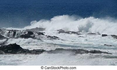 stormy waves braking at coast long