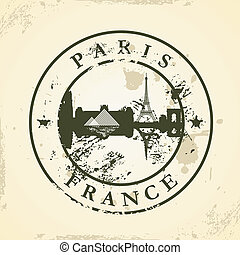 stamp with Paris, France