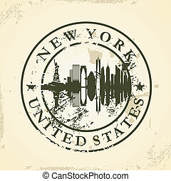 stamp with New York, USA - Grunge rubber stamp with New...