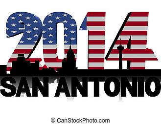 San Antonio skyline with 2014 American flag text...