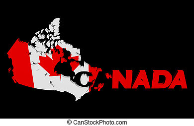 Canada map flag with overlapping text illustration