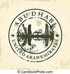 stamp with Abu Dhabi, UAE - Grunge rubber stamp with Abu...